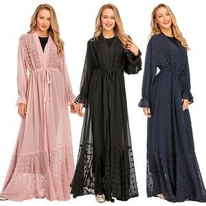 Open Abaya Dubai Kaftan Muslim Women Long Maxi Party Dress Kimono Cardigan Drawstring Turkish Caftan Islamic Clothing Party Gown