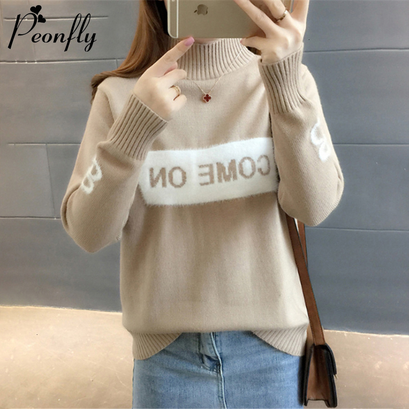 PEONFLY Fashion Letter Printed Women Sweaters And Pullovers 2019 Autumn Winter Turtleneck Knittted Sweater Female Khaki Jumper