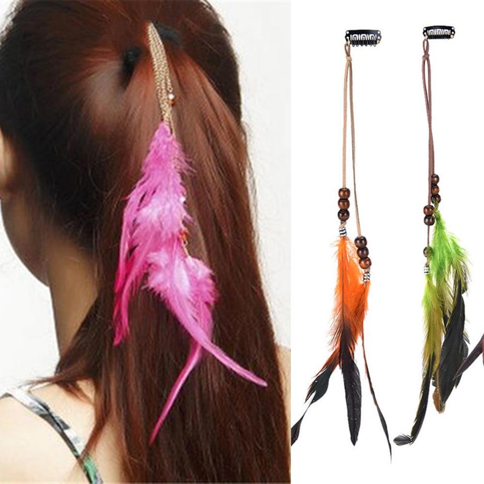 Nuevo Clip de Pelo adornos de plumas indio Tocado Plumas Borla hair piece Cp
