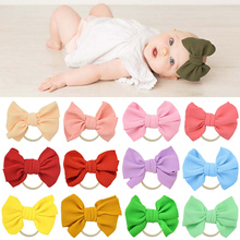 купить Fashion cute newborn hairband big bow knot headband stretch Turban Head Wrap girls gum rubber band Toddler hair accessories онлайн