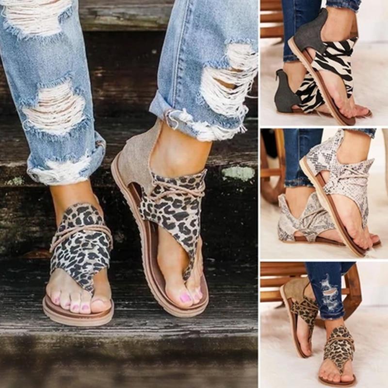 Women Sandals Women Retro Leopard Zip Flip-flop Sandal Large Size Arch-support Flat Comfy Breath Summer Shoes Sandals Gift