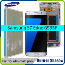 ORIGINAL 5.5 AMOLED Display with Burn Shadow Ghost image for SAMSUNG s7 edge Pantalla G935 G935F LCD with Frame Touch Screen