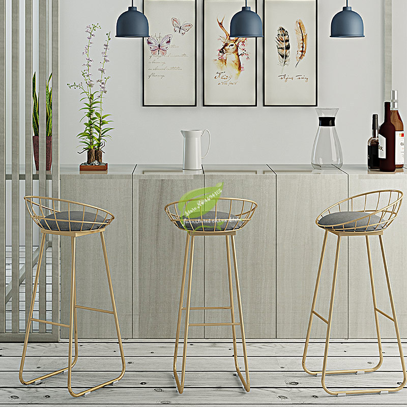 30%Stool Bar Tabouret De Bar Simple Bar Stool Wrought Iron Bar Chair Gold High Stool Modern Dining Chair Nordic Pub Accessories