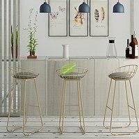 30% tamborete de barra de barra simples tamborete de barra de ferro forjado cadeira de barra de ouro alta cadeira de jantar moderna nordic pub acessórios