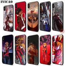 IYICAO Neon Genesis Evangelion Soft Black Silicone Case for iPhone 11 Pro Xr Xs Max X or 10 8 7 6 6S Plus 5 5S SE