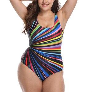 Image 5 - Riseado 2020 Plus Size Swimwear Women Sport One Piece Swimsuit Striped Print U back Swim Wear Beachwear Bathers 3XL
