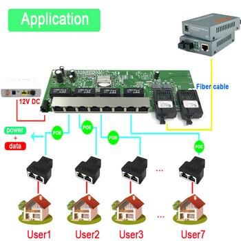 Reverse POE 10/100/1000M Gigabit Ethernet switch Ethernet Fiber Optical Single Mode 8 RJ45 UTP&2 SC fiber Port Board 20KM
