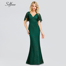 Sexy Sequined Maix Dress For Women Short Sleeve V-Neck Bodycon Evening Party Elegant Long Ladies Robe Femme 2019
