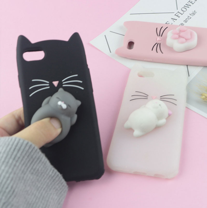 3D Cute Japan Glitter Bearded Cat Case For iphone  6 6S 7 8 Plus X XR XS Max Squishy Cover Mobile Phone Bags