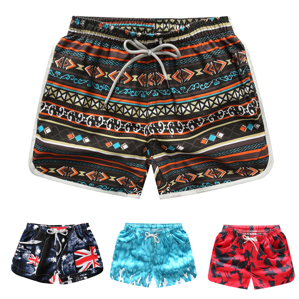 Vintage Beach Shorts Women Summer Floral Printed Shorts Quick Dry Elastic Waist Female Swimsuit Shorts Beach Wear Bathers M-XXL