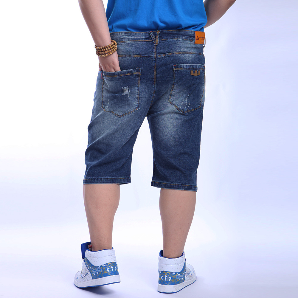 Large Size MEN'S Wear Men's Thin Ultra-Large Size Straight-Leg Denim Shorts Obesity Men Plus-sized Cowboy Capri Pants