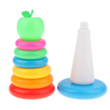 7 Rainbow Color Stacking & Nesting Rings With An Apple Bath Toy Kit, Kids Baby Toddler Bath Time Playing(China)
