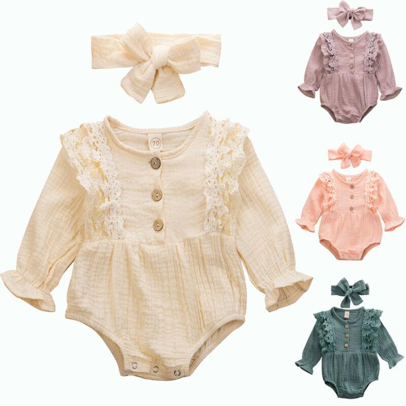 Emmababy 2PCS Newborn Infant Kid Baby Girl Long Sleeve Lace Patchwork Bodysuit Jumpsuit Playsuit Clothes+Headband Autumn