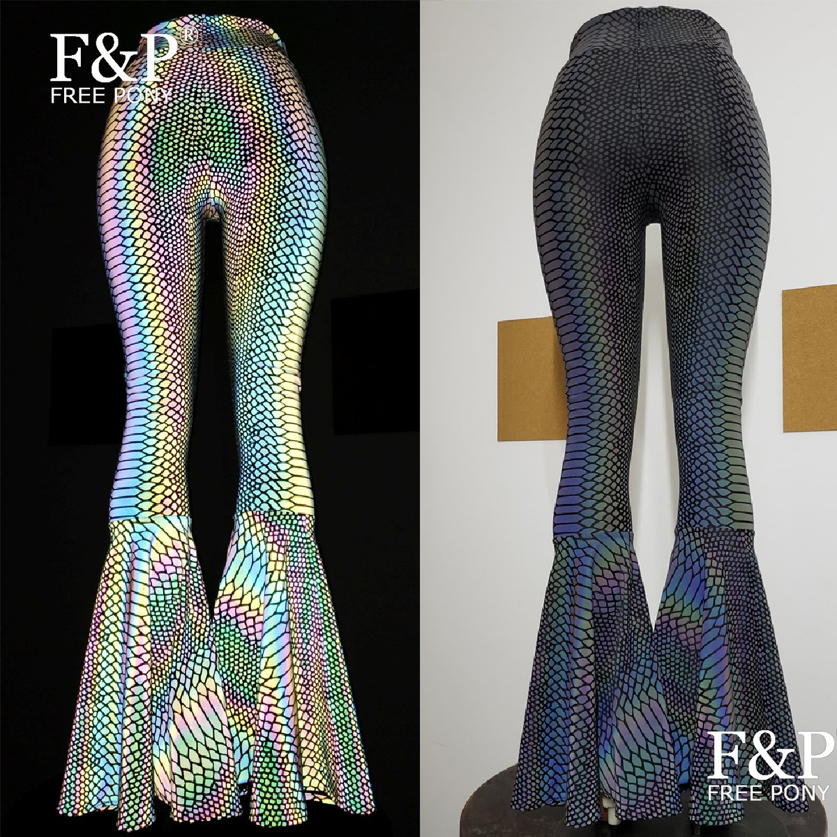 Переливчатая Радуга светоотражающие змеиные расклешенные брюки клеш леггинсы Женская одежда для фестиваля, наряды Брюки с высокой талией