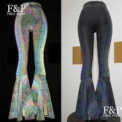 Iridescent Rainbow Reflective Snakeskin Flare Bell Bottom Pants Leggings Women Rave Festival Clothes Outfits High Waisted Pants