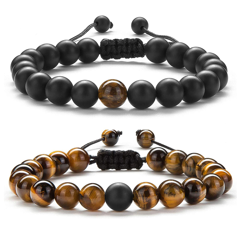 2pcs/set Bead Bracelet Natural Tiger Stone Charm Onyx Beaded Couple Distance Bracelets for Women Men Friend Gift Stretch Jewelry