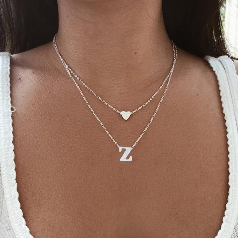 SMJEL Fashion Tiny Heart Initial Necklace Women Personalized Letter Name Choker Necklace Collier Femme Jewelry Gift Accessory