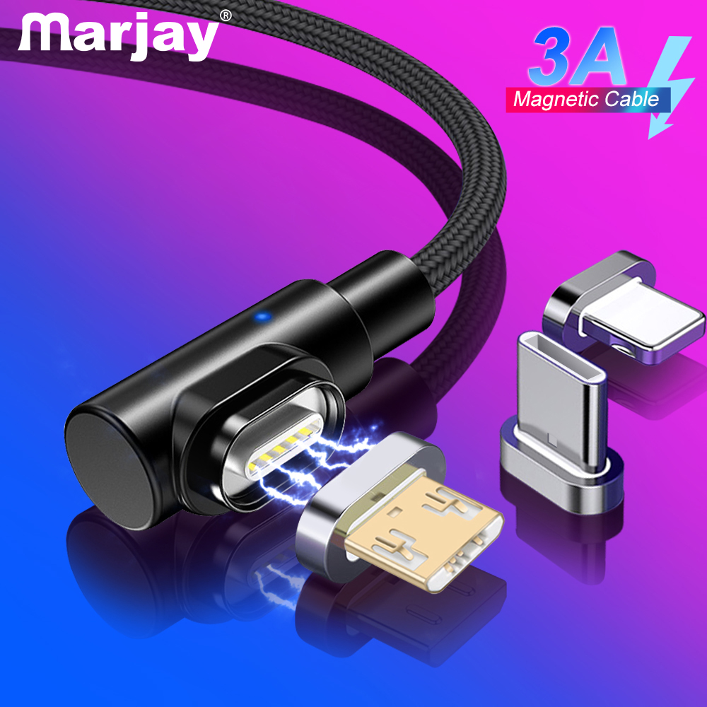 Marjay 90 degree Magnetic Cable Type C Micro USB C Fast Charging Microusb Type C Magnet Charger usb c Charge cord for iphone 7 6|Mobile Phone Cables|   - AliExpress