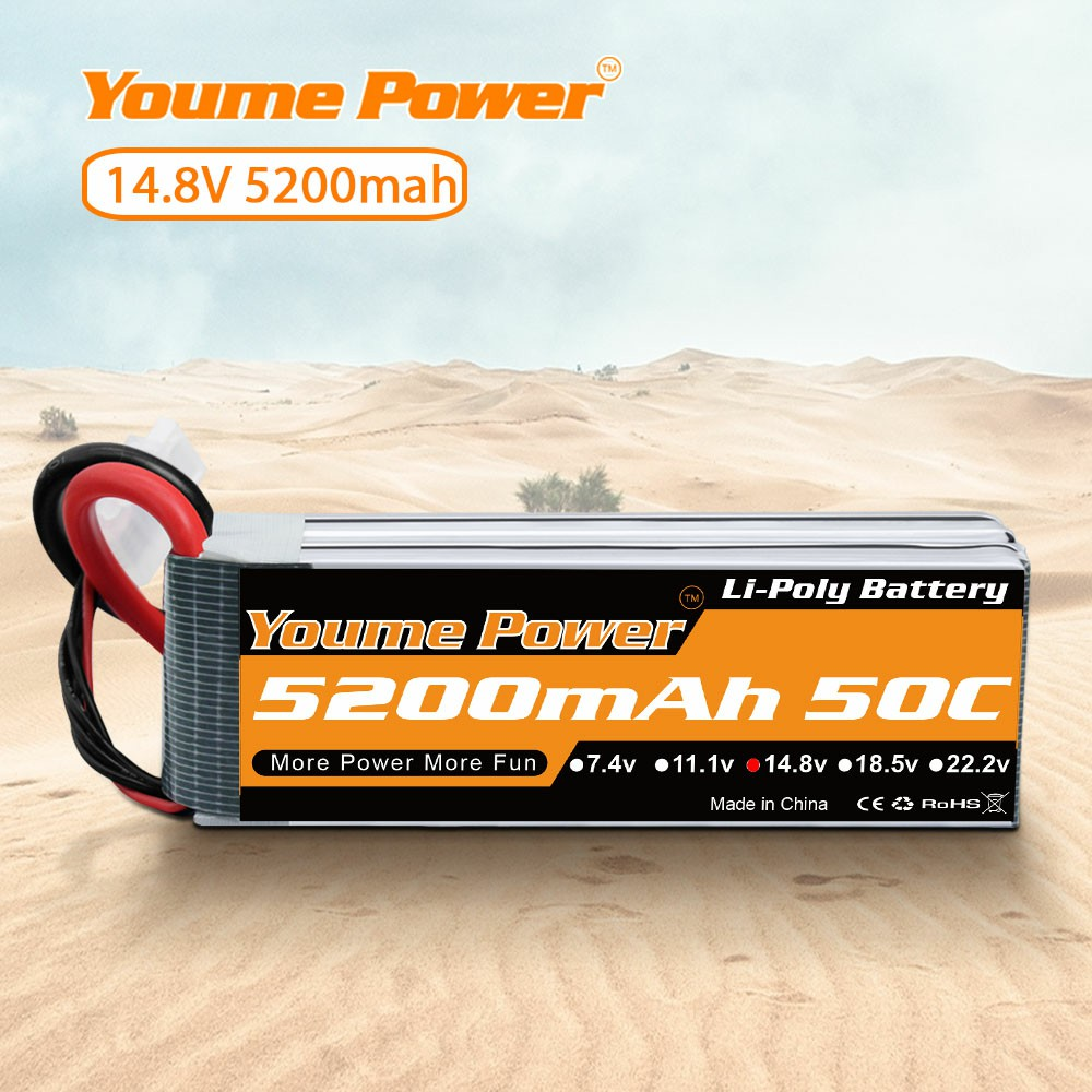 Youme 14.8V <font><b>4S</b></font> <font><b>Lipo</b></font> Battery <font><b>5200mAh</b></font> 50C with deans Plug RC Batteries for RC Car Boat RC Helicopter Airplane Truck Truggy Arrma image