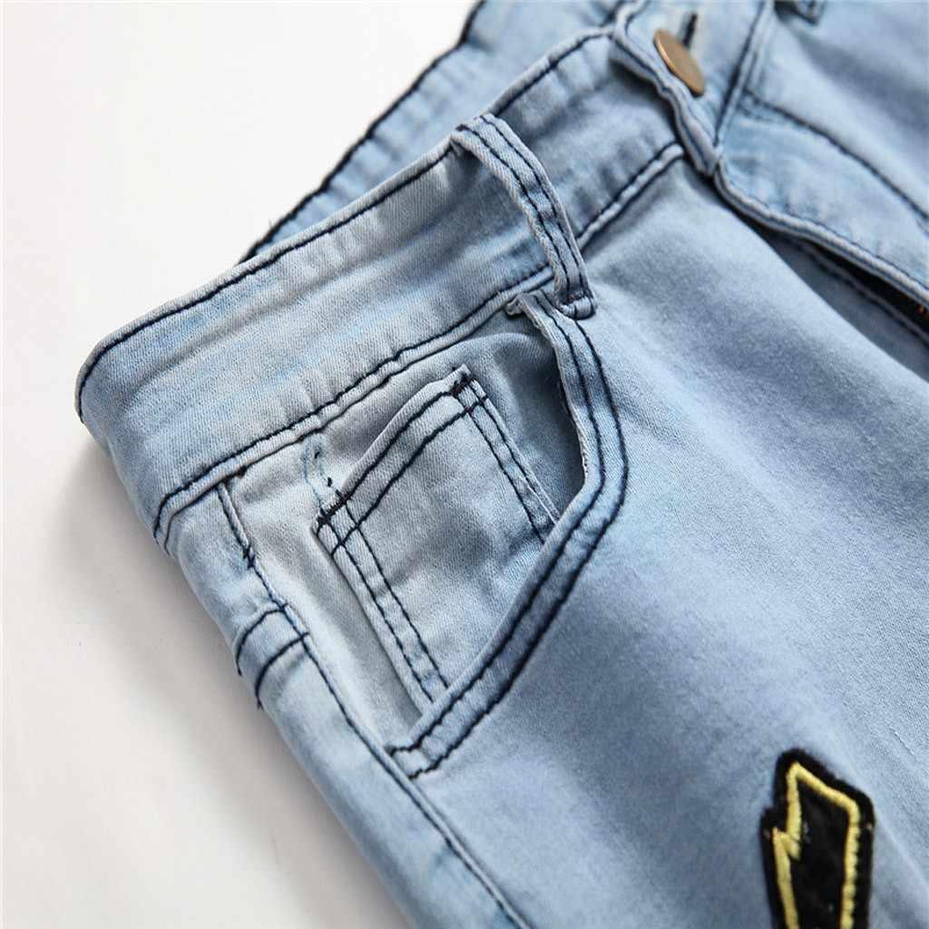 Jeans ropa de hombre 2020 Jeans hombre otoño Denim algodón recto agujero bolsillo pantalones vaqueros desgastados lápiz pantalones hombres Streetwear