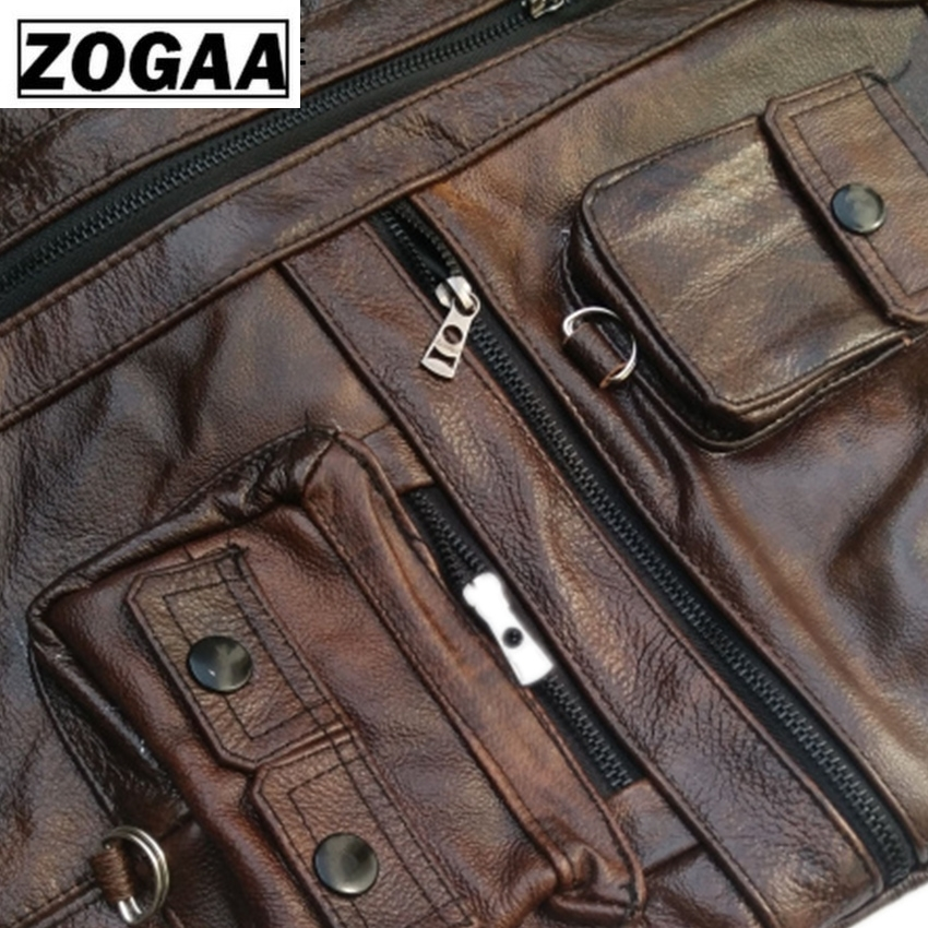 Image 5 - ZOGAA Vest Mens Leather Waistcoat Real Leather Motorcycle Vest With Many Pockets Photography Vest Sleeveless Jacket-in Vests & Waistcoats from Men's Clothing