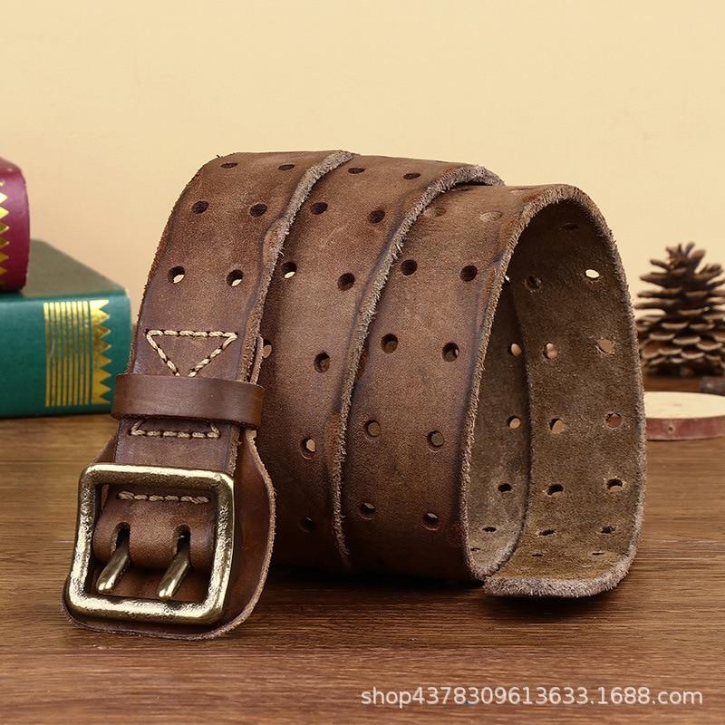Ремень роскошный для молодых мужчин, стильный ковбойский пояс из натуральной воловьей кожи, с двойной пряжкой из латуни и меди