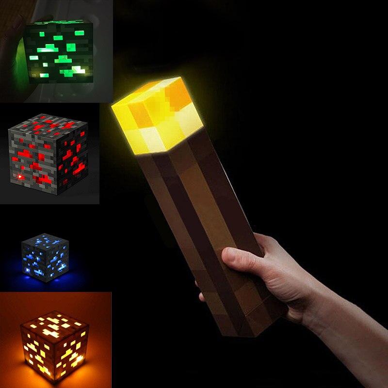 Game Cartoon My World  Light Up Torch LED Lamp Diamond Block Redstone Ore Square Light LED Children Room Light Kids