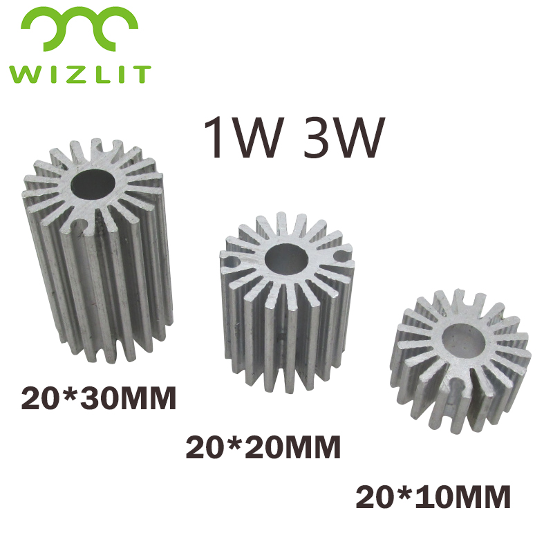 10 Pieces1W 3W Aluminium Heat Sink For LED Plate Cooling. LED PCB Radiator Cooler 20*10mm 20*15mm 20*20mm  20*30mm 20*40mm.