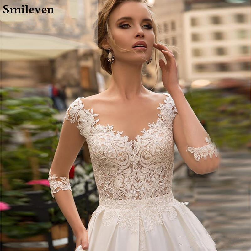 Smileven Princess Wedding Dress Half Sleeve Appliqued Lace Bridal Dress Romantic Buttons Vestido De Noiva