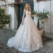 High Quality Wedding Dress With Long Sleeves Illusion Scoop Neckline Floor Length Bridal Gowns Formal Bride's Ball Gown New