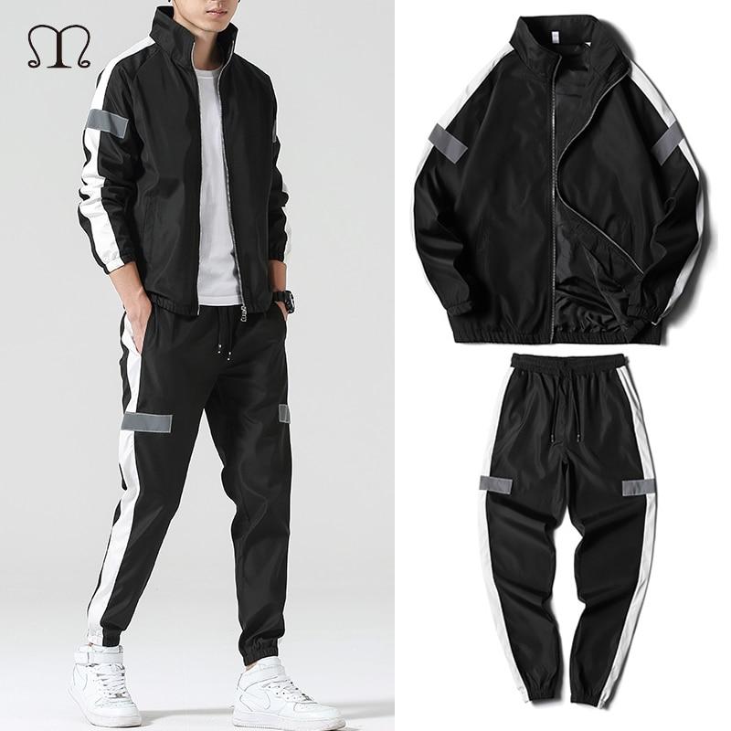 Men's Set Fashion Sports Men Sweatsuit Hip Hop Fitness Clothing Two Pieces Sweatshirt Sweatpant Male Tracksuit Black White Grey