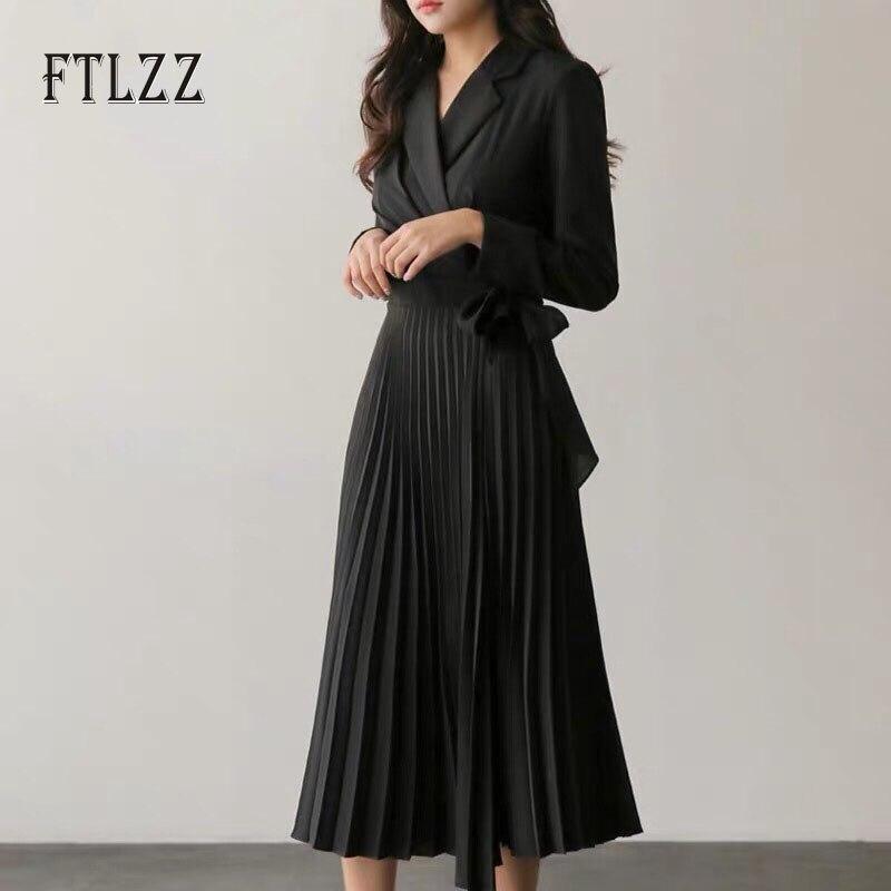 Vintage Black Pleated Dress Women Slim V Neck Fashion Spring Autumn Long Robe Vestidos Ladies Elegant Bandage Dresses Clothes