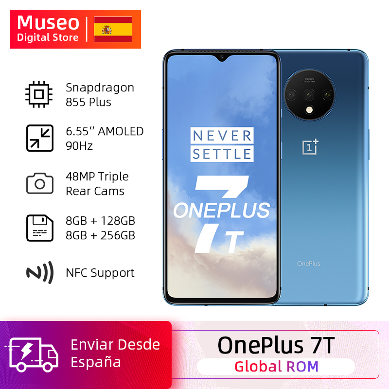 Global ROM OnePlus 7T 7 T Snapdragon 855 Plus Smartphone Octa Core 6.55'' 90Hz AMOLED Screen 48MP Triple Cam 30W NFC Android 10