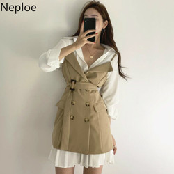 Neploe Chic Turn Down Collar White Blouse + Slim Waist Lace Up Double Breast Camis Dress Temperament Spring Autumn 2 Pcs Set