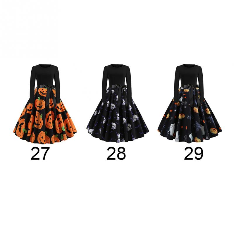 Fancy Pumpkin Printed Halloween Dress Long Sleeve Mid Length Princess Swing Dress Ladies Costume for Festival Party M-XXL 2