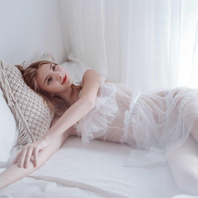 Белая пикантная кружевная Пижама, женское тонкое спальное платье, перспективное открытое Сетчатое тонкое Ночное платье в горошек