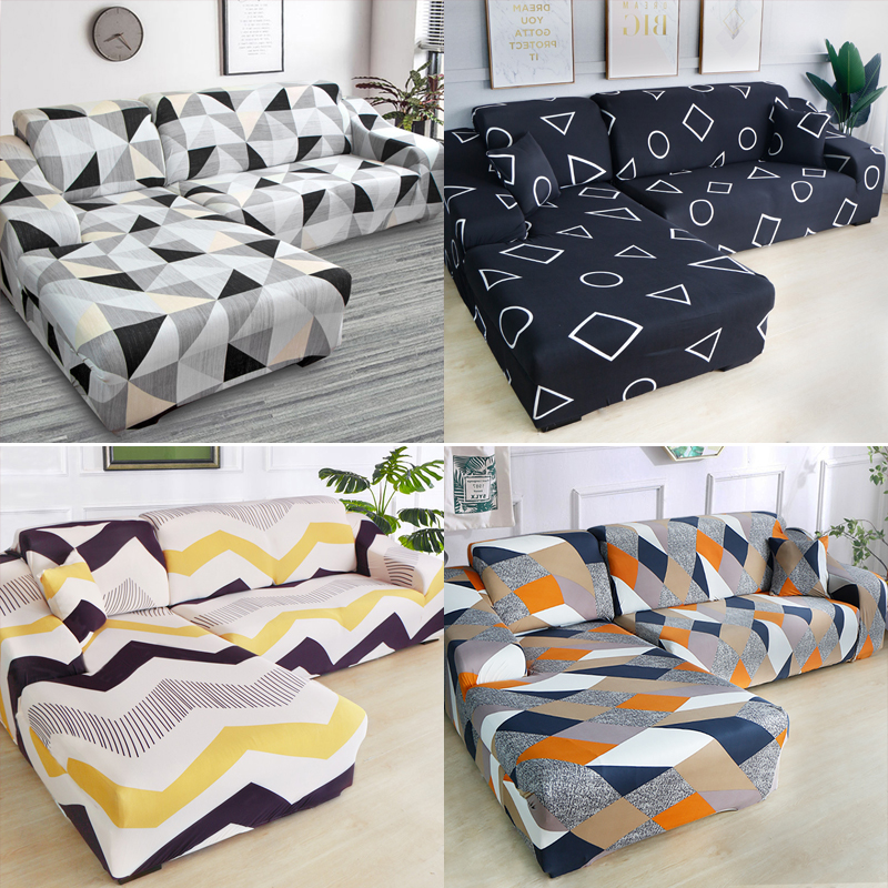 L SHAPE chase long geometric printed spandex sofa covers for living room stretch slipcovers couch cover for corner sofa