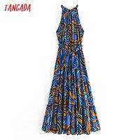 Tangada Fashion Women Leaf Print Summer Tank Dress 2021 New Arrival Sleeveless Ladies Midi Sundress With Slash  QN114 1