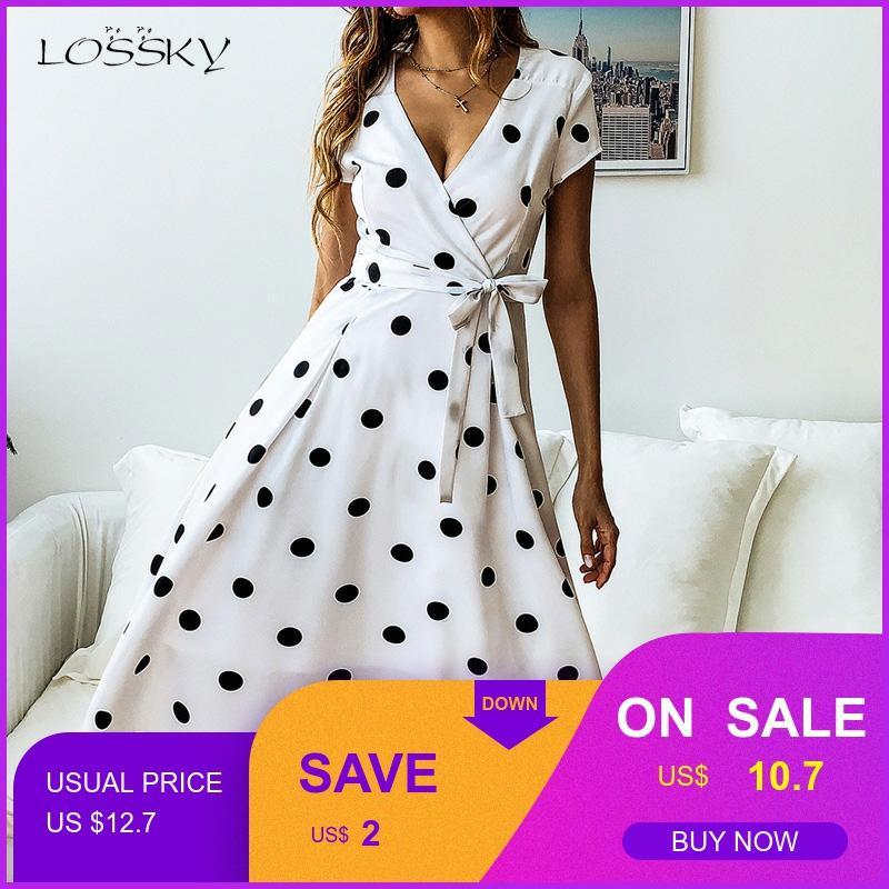 Lossky Summer Dress Women Vintage Dress Casual Polka Dot Print A-Line Party Dresses Sexy V-neck Short Sleeve Long Dress Fashion