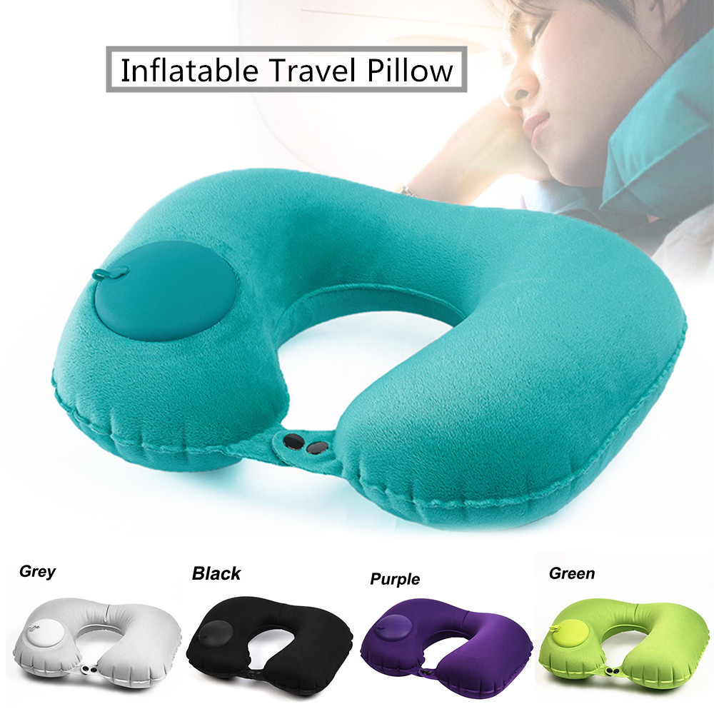 Portable U-Shape Inflatable Travel Pillow Car Head Rest Air Cushion For Travel Office Nap Head Rest Air Cushion Neck Pillow