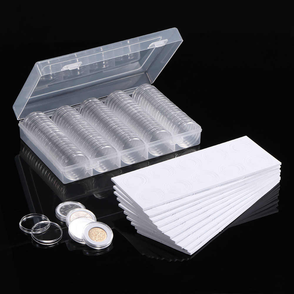Clear Coin Protector Case Coin Collection 100 Pcs Transparent Coin Storage Box 17/20/25/27/30mm Round Coin Capsules Containers