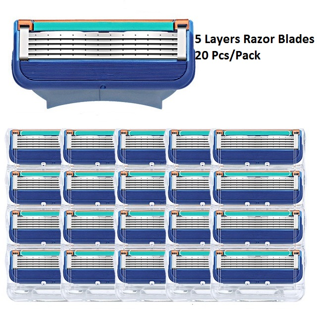 Razor Cassettes For Gllette Fusion Replacement Heads 5 Layers Stainless Steel Razor Blades Straight Razor For Men Manual