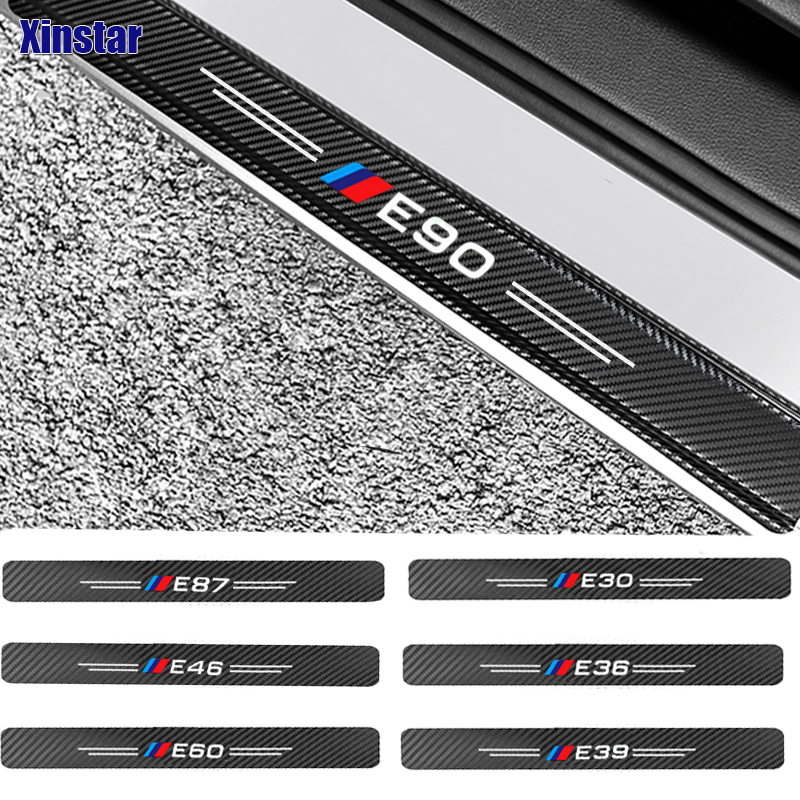 4pcs Carbon fiber performance car bumper sticker For <font><b>BMW</b></font> <font><b>E30</b></font> E36 E39 E46 E60 E87 E90 image