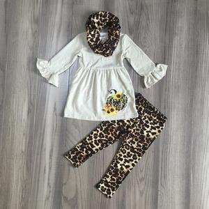 Image 1 - FALL OUTFITS girls 3 pieces with leopard scarf girls halloween sets girls pumpkin print dress with leopard print pants