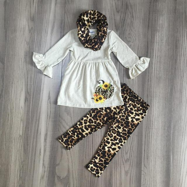 FALL OUTFITS girls 3 pieces with leopard scarf girls halloween sets girls pumpkin print dress with leopard print pants