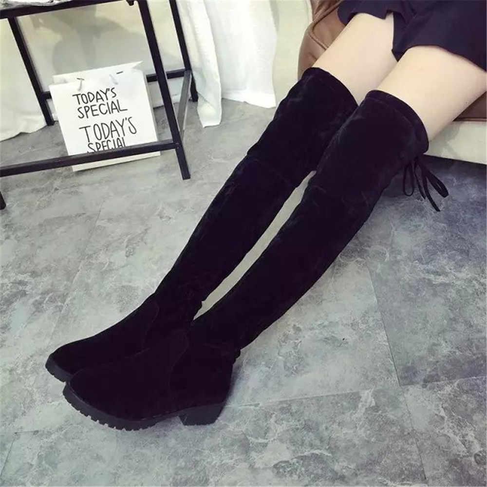 2019 kadın uyluk yüksek çizmeler streç deri kadın kış uzun çizmeler kadın diz çizmeler üzerinde seksi moda sonbahar düz ayakkabı