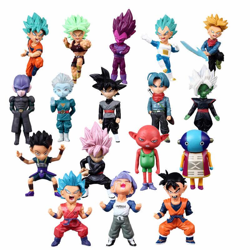 7-8cm anime dragon ball z super saiyan troncos vegeta son goku kakarotto pvc figura de ação brinquedos presente de natal brinquedo 34 estilos