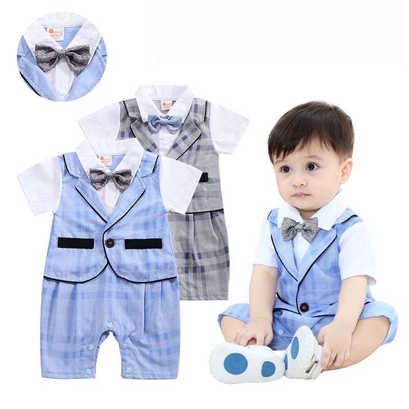 Baby Romper Summer Baby Boys Clothes Gentleman Lattice Newborn Jumpsuit Clothes Kids Costume For Baby Overalls Clothes 0-24Month