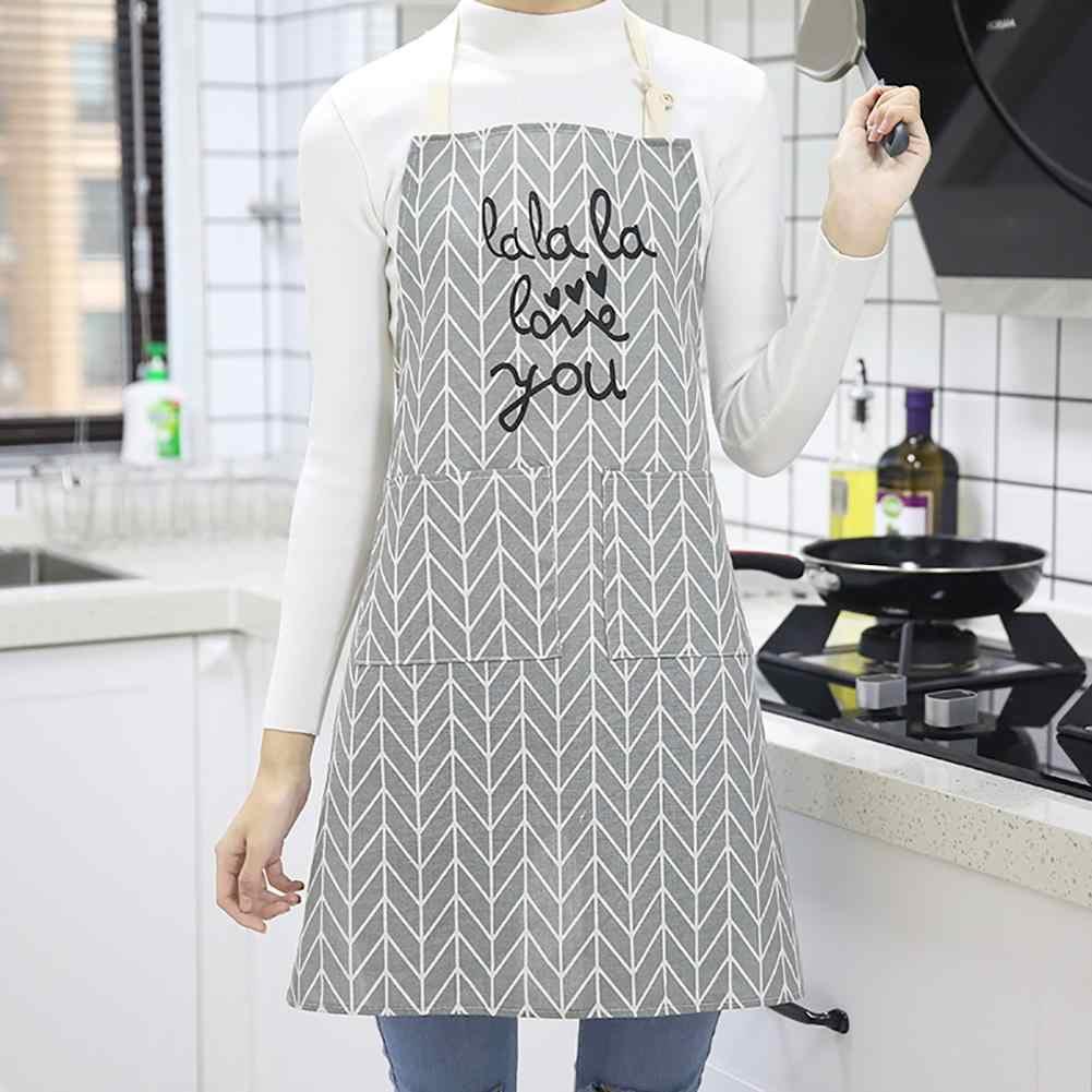 אופנה פס רשת דפוס כיס סינר מטבח טבח ביתי מסעדת קפה חנות ניקוי סינרי מטבח אבזר