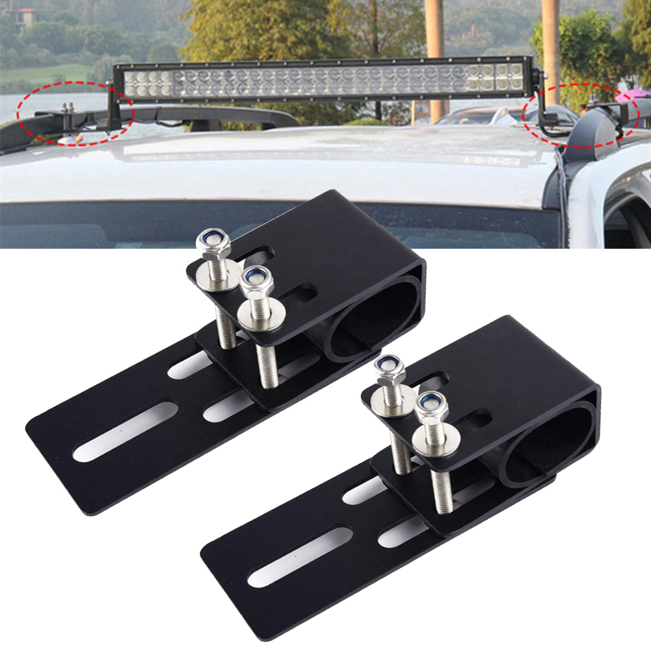 1pair Universal Car SUV Roof Rack LED Light Bar Mounting Bracket Offroad Driving Work Lamp Clamp Holder Auto Pickup Accessories image